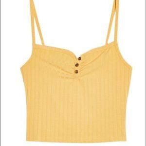 Topshop Ribbed Front Button Cami Tank Top